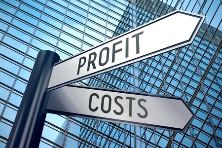 3D signpost - profit, costs