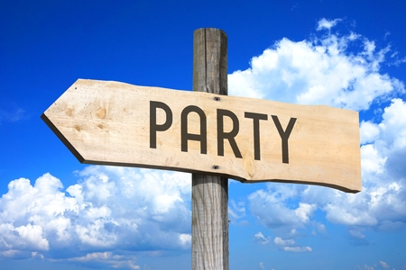 Wooden signpost - party