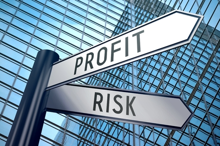 3D signpost - profit, risk Stock Photo