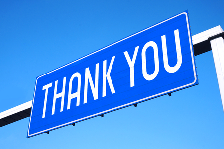 Thank you street sign Stock Photo