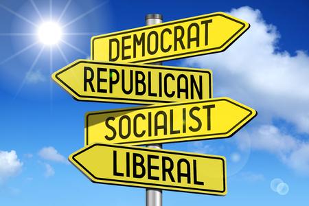 liberal: Politics concept - yellow road-sign