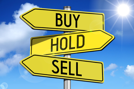 sell: Buy, hold, sell - yellow roadsign Stock Photo