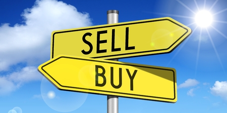 sell: 3D signpost - sell, buy