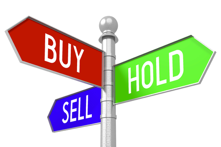 sell: Buy, hold, sell - colorful signpost Stock Photo
