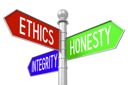 Ethics concept - colorful signpost