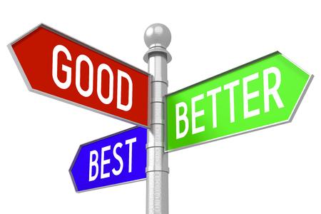 better: Good, better, best - colorful signpost