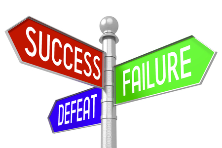 3D signpost - success, failure,