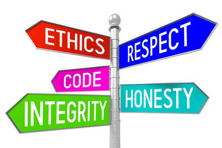 3D signpost with 5 arrows - business ethics concept