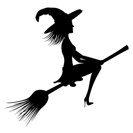 Halloween card - witch flying on groom Stock Photo