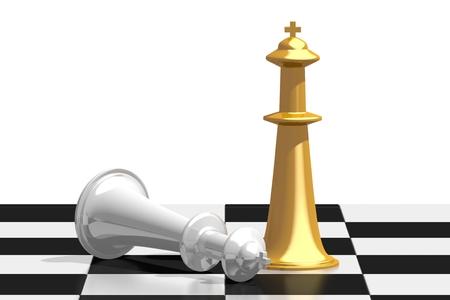 3D chess - winner concept Stock Photo