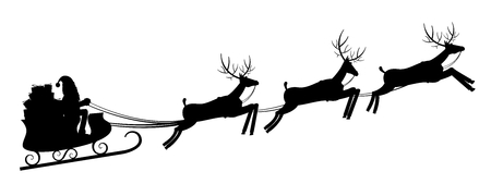 Deer and sleigh silhouettes Stock Photo