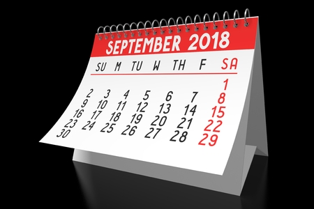 Table calendar 2018 - September