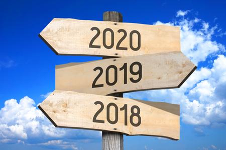 2018 2019 2020 - signpost roadsign
