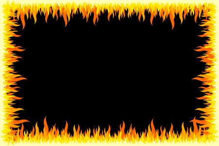 Fire frame - black background Stock Photo