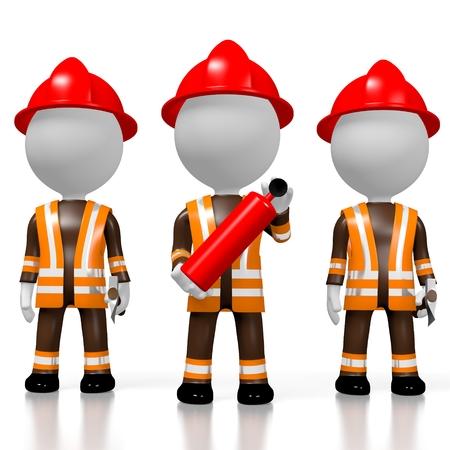 3D fireman brigade, white background Фото со стока - 91608380