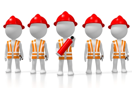 3D fireman brigade, white background