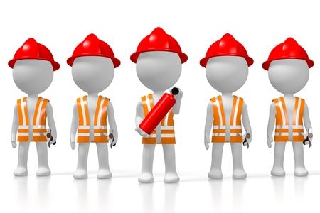 3D fireman brigade, white background