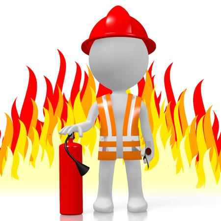 3D brandweerman met brandblusapparaat, vlammen op achtergrond Stockfoto