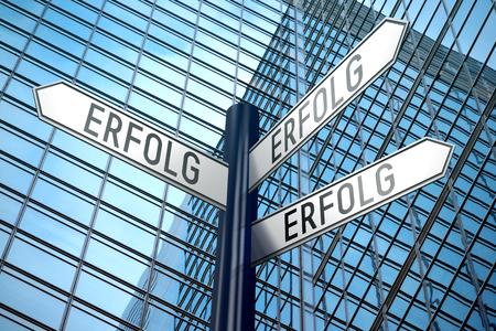 Erfolg (German) Success (English) - crossroads sign