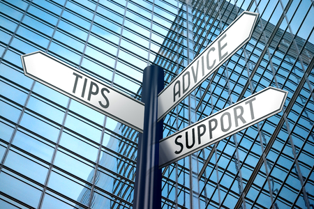 Tips, advice, support - crossroads sign, office building Stock Photo