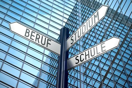 Beruf, Studium, Schule (German)/ Occupation, Studies, School (English) - signpost
