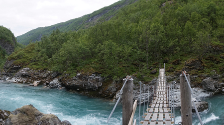 Wooden footbridge; Norway