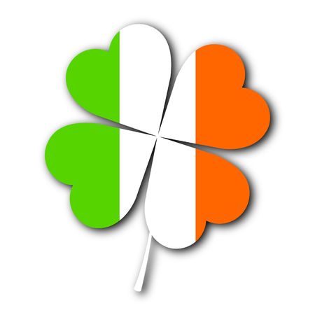 St. Patricks Day illustration - clover shamrock, irish flag