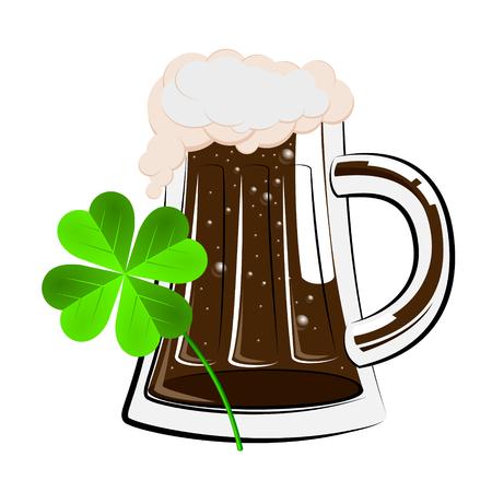 St. Patricks Day illustration - pint of dark beer