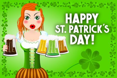 Happy St. Patricks Day - card, illustration