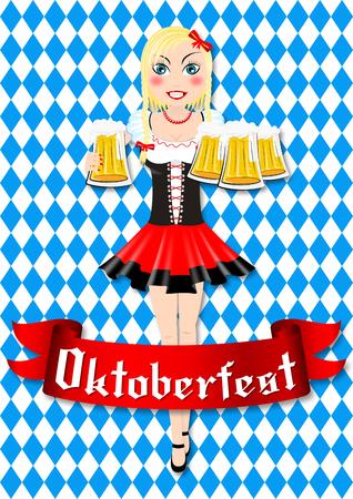 Oktoberfest waitress with beer illustration