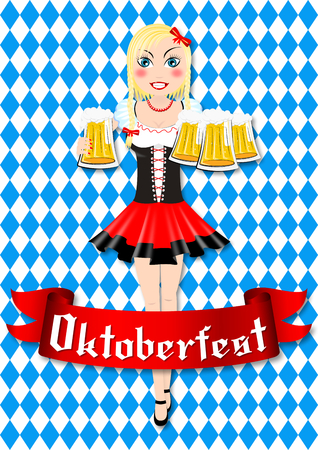 Oktoberfest waitress with beer illustration