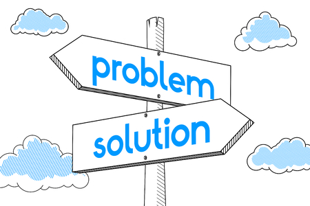 Problem, solution - signpost, white background 写真素材