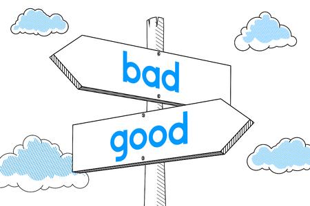 Good, bad - signpost, white background Stock fotó