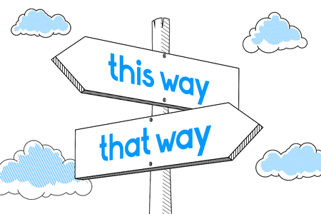 This way, this way - signpost, white background
