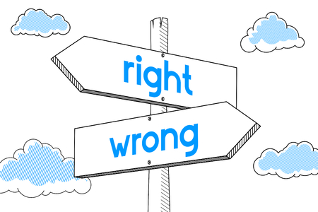Right, wrong - signpost, white background Stock fotó