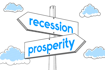 Prosperity, recession - signpost, white background
