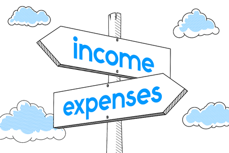 Income, expenses - signpost, white background