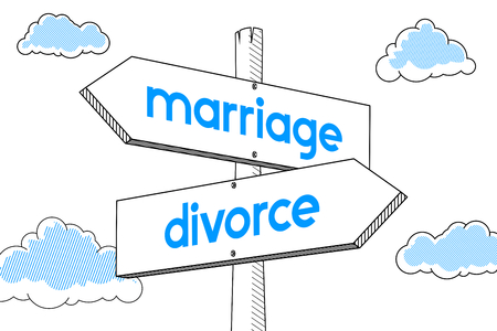 Marriage, divorce - signpost, white background