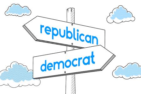 Democrat, republican - signpost, white background