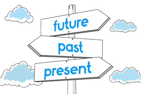 Future, present, past - signpost, white background