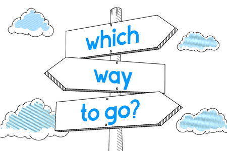 Which way to go - signpost, white background