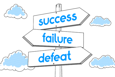 Success, failure, defeat - signpost