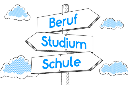 Education concept - signpost, white background