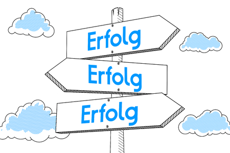 Erfolg (German)/ Success (English) - signpost, white background