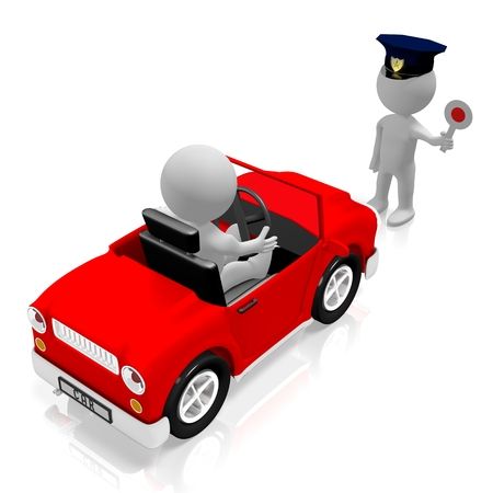 Vehicle check - car, policeman 写真素材