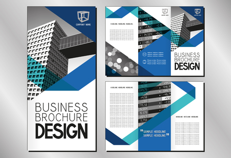 Business trifold brochure/ flyer template (A4 to DL format - 3 x 99x210 mm) - modern office buildings/ defocused background/ financial data - blue graphics with triangles.