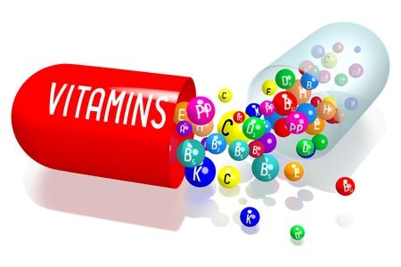 Vitamins concept - red capsule Banco de Imagens