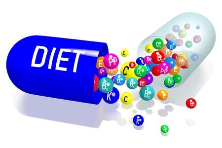 Diet concept - blue capsule