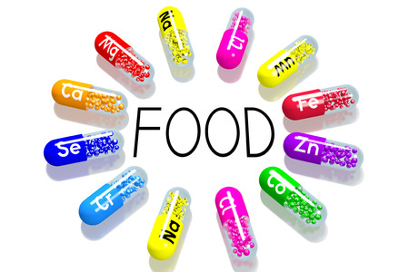 Food concept - colorful pills