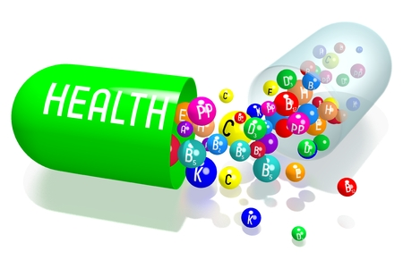 Health concept - green capsule